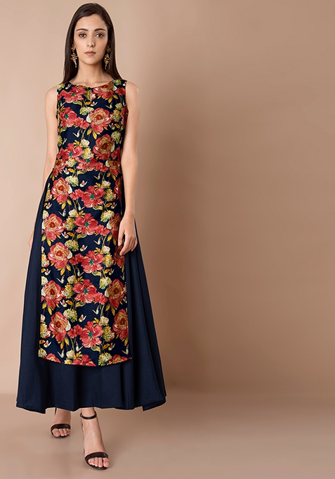 Double Layer Silk Maxi Tunic - Navy Floral