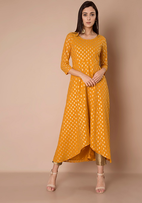 High Low Anarkali Tunic - Mustard Foil