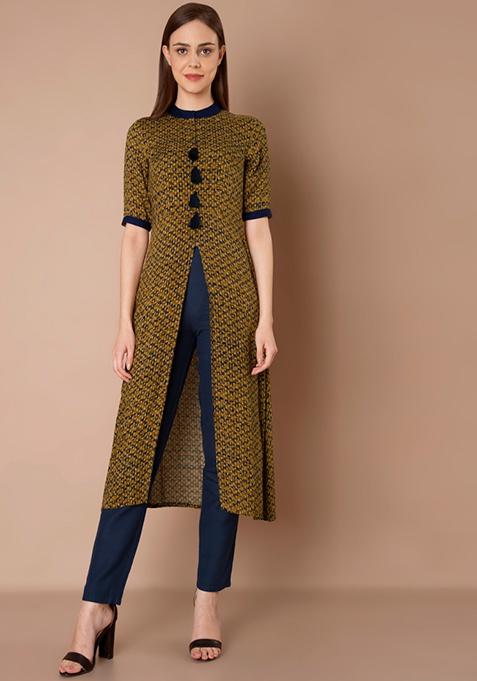 Front Slit Tassel Tunic - Mustard Dotted