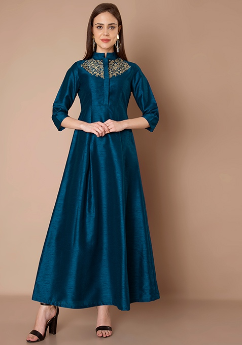 Mirror Laser Cut Silk Maxi Tunic - Blue