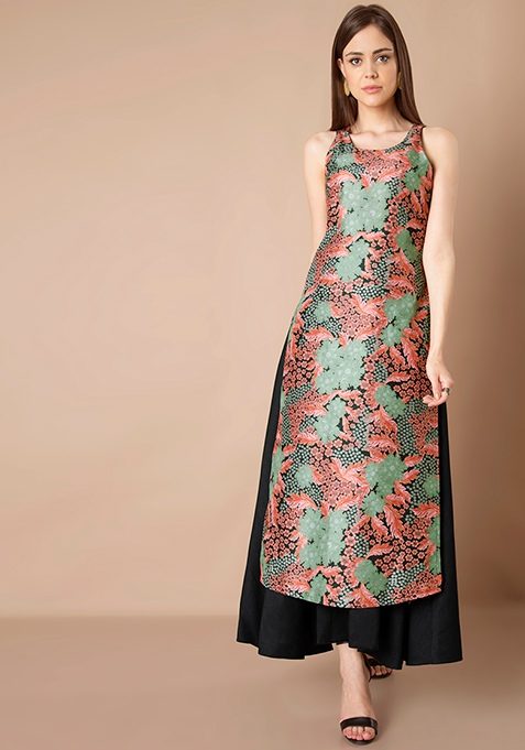 Silk Double Layer Tunic - Forest Print