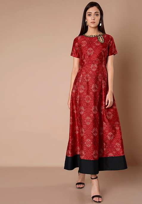 Eyelet Cut Out Silk Maxi Tunic - Red Baroque