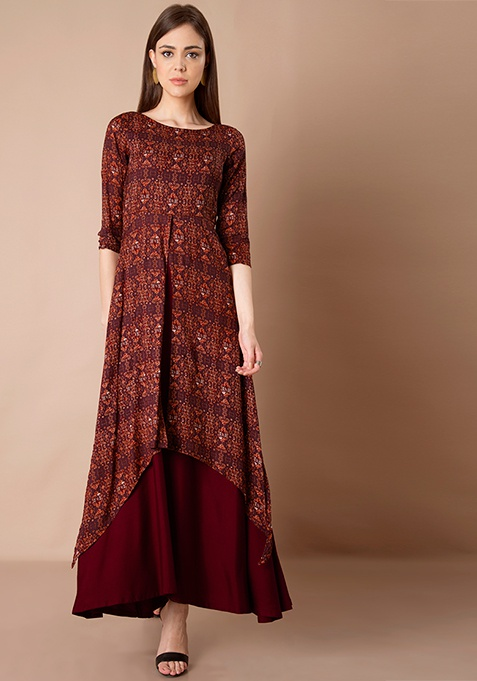 High Low Double Layer Maxi Tunic - Oxblood
