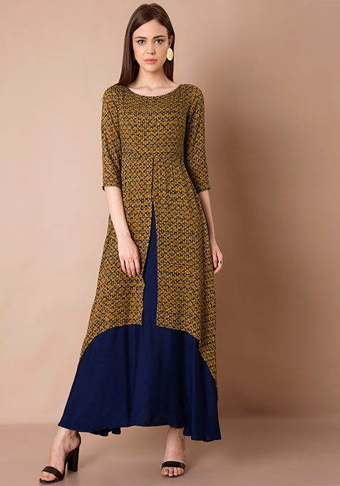 High Low Double Layer Maxi Tunic - Mustard