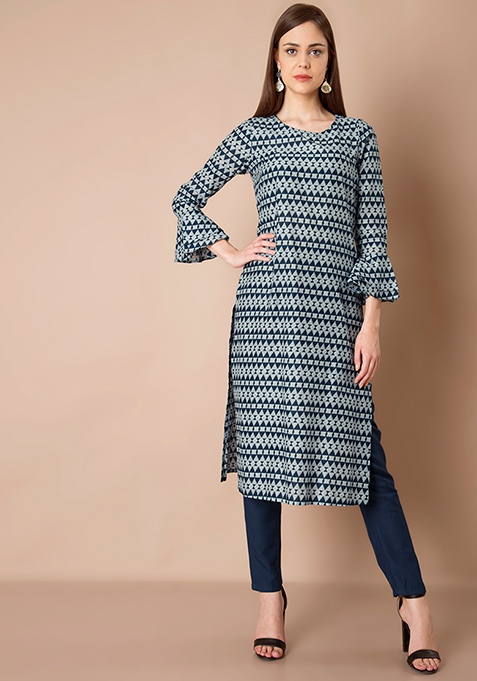 Bell Sleeve Tunic - Navy Triangles