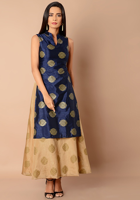 Collared Double Layer Silk Maxi Tunic - Navy Beige Foil