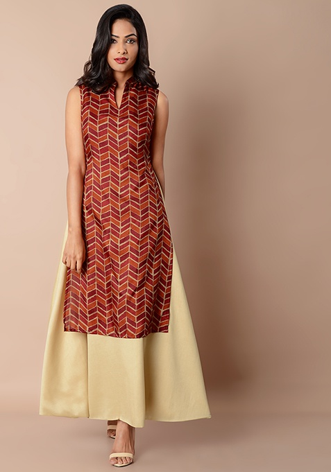 Collared Double Layer Silk Maxi Tunic - Oxblood Print Beige