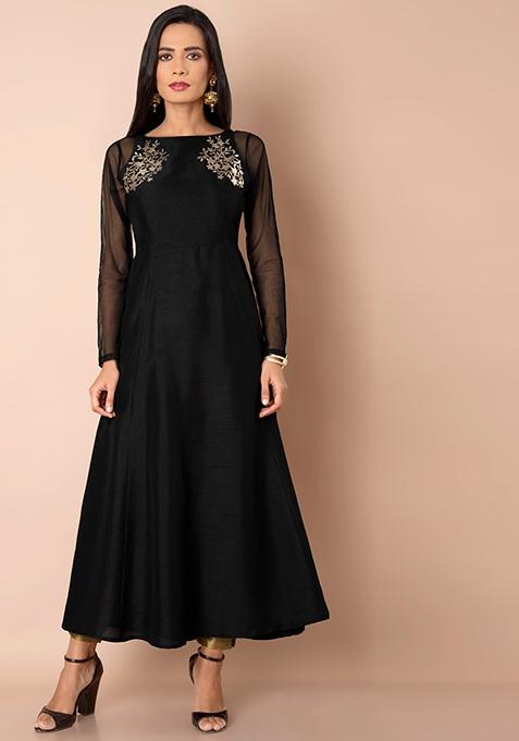 Black Sheer Sleeve Embellished Maxi Tunic