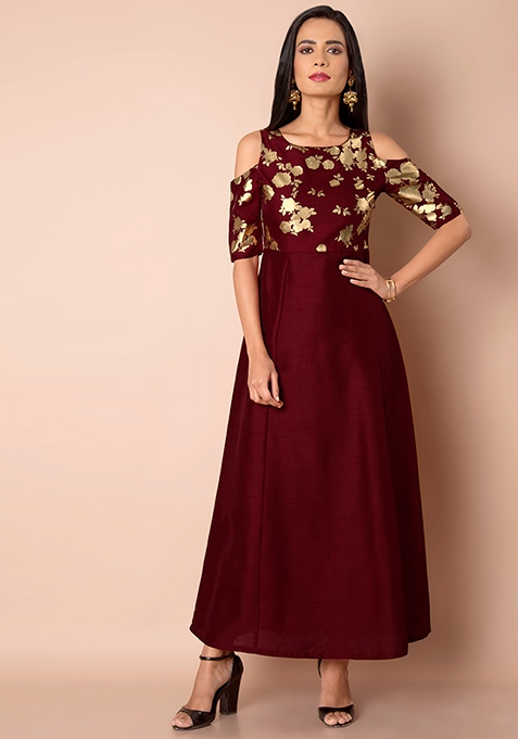 Oxblood Foil Cold Shoulder Silk Maxi Tunic