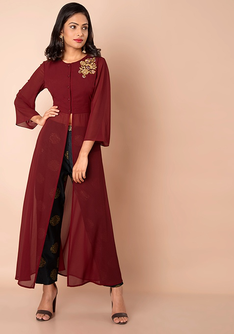Oxblood Embroidered Bell Sleeve Tunic