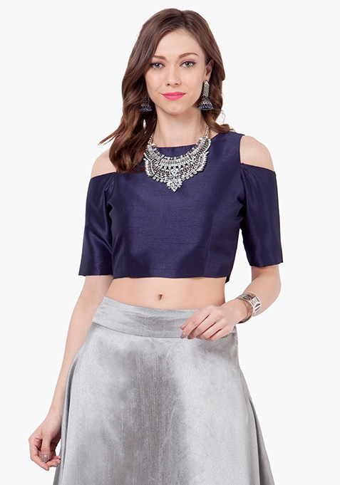 Cold Shoulder Silk Crop Top - Navy