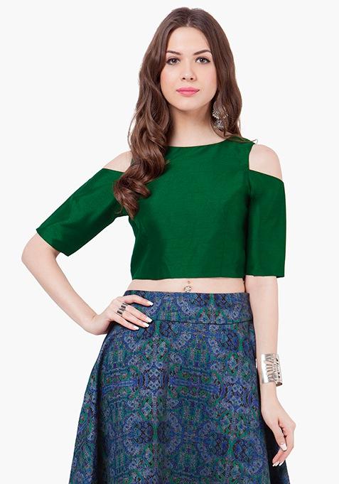 Cold Shoulder Silk Crop Top - Green