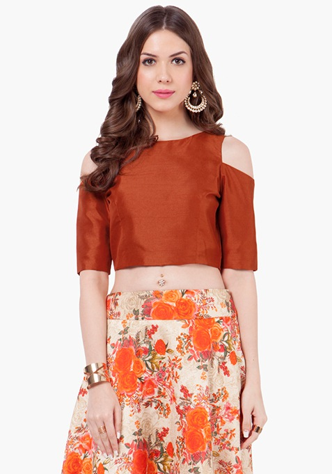 Cold Shoulder Silk Crop Top - Rust