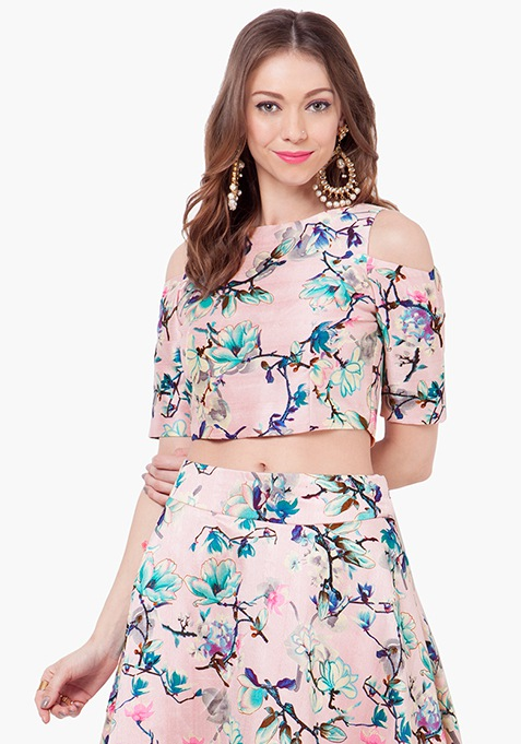 Cold Shoulder Silk Crop Top - Pink Floral