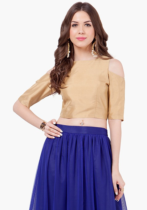 Cold Shoulder Silk Crop Top - Gold