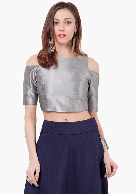 Cold Shoulder Silk Crop Top - Grey