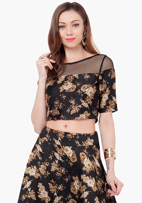 Mesh Silk Crop Top - Floral