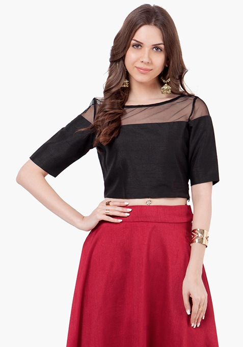 Mesh Silk Crop Top - Black