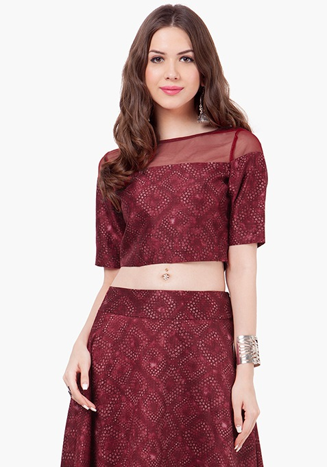 Mesh Silk Crop Top - Oxblood