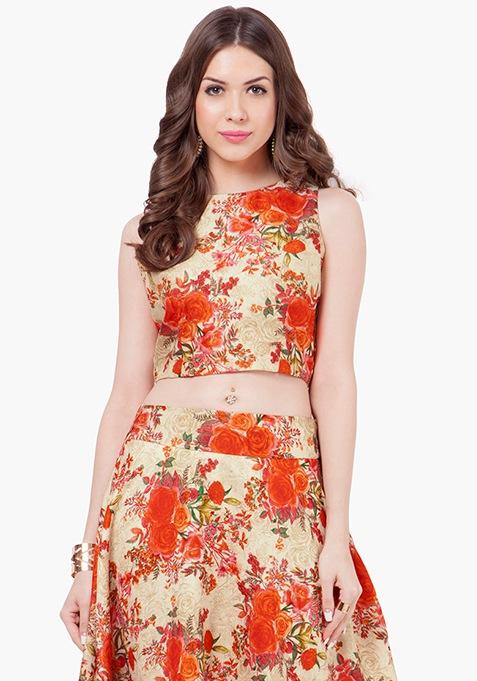 Orange Floral Silk Crop Top