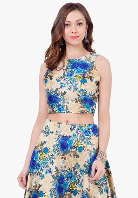 Blue Bloom Silk Crop Top
