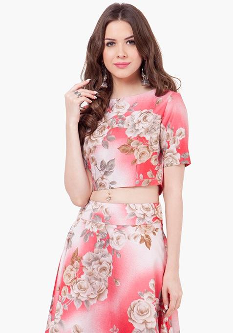 Floral Muse Silk Crop Top - Ombre