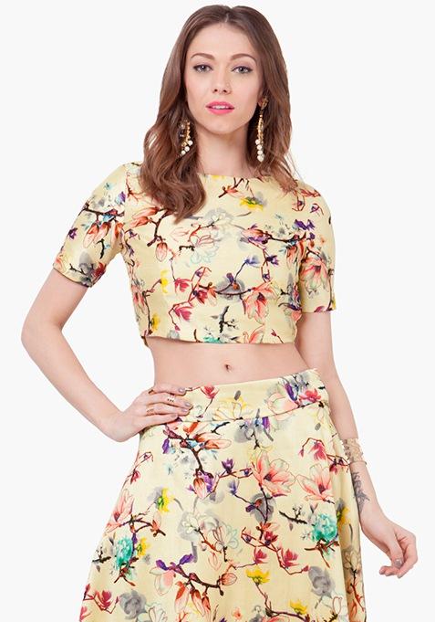 Floral Muse Silk Crop Top - Lemon