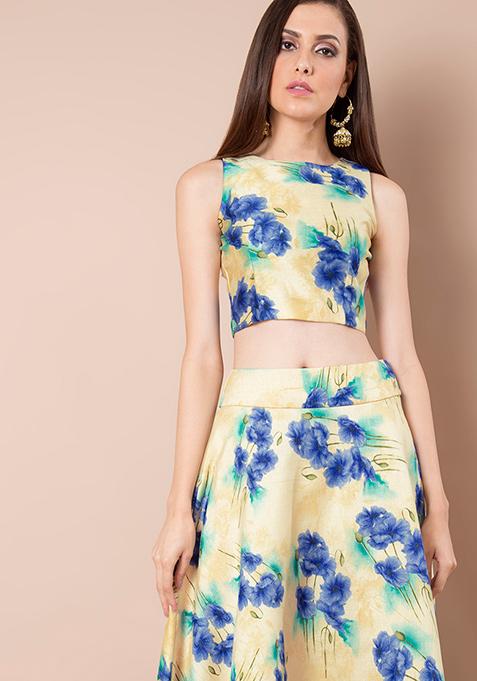 Floral Flame Silk Crop Top