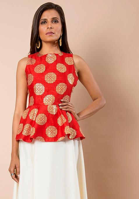 Red Baroque Silk Peplum Top