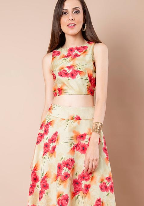 Beige Bloom Silk Crop Top