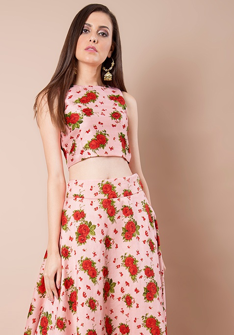 Blush Floral Silk Crop Top
