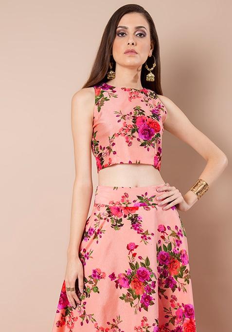 Peach Floral Silk Crop Top