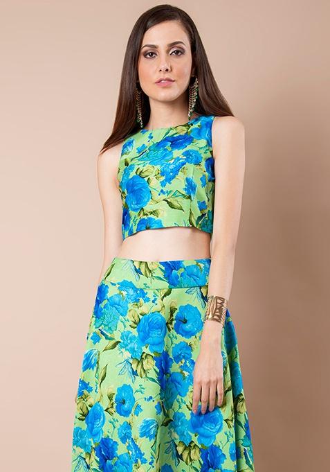 Mint Floral Silk Crop Top