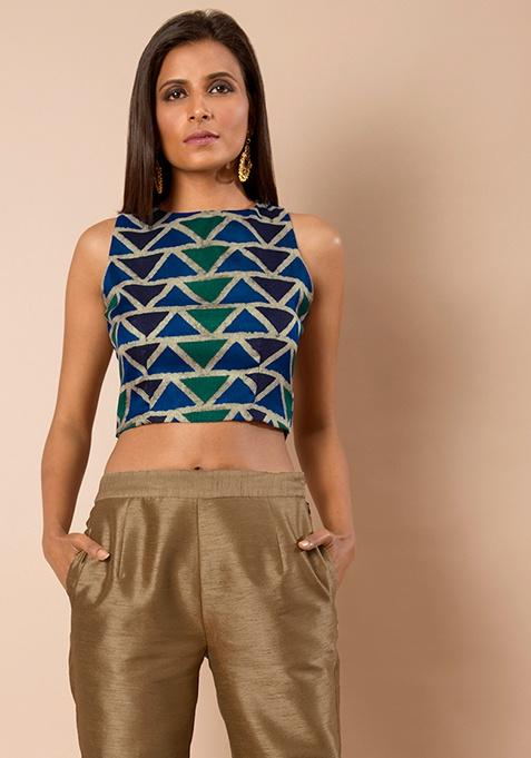 Navy Geometric Silk Crop Top