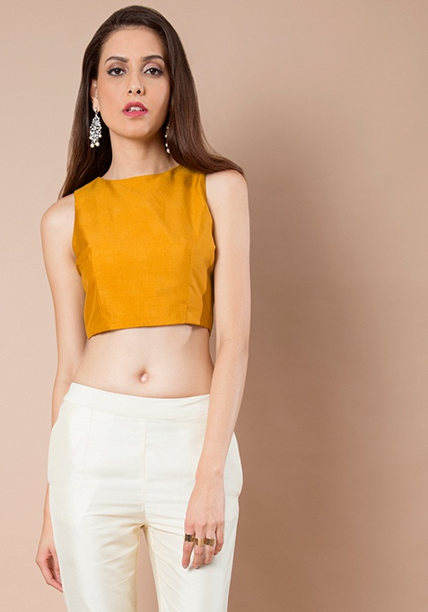 Mustard Silk Crop Top