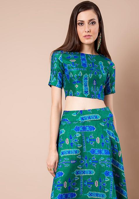 Green Tree Print Silk Crop Top