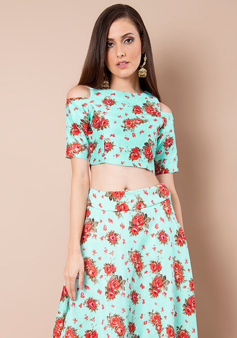 Cold Shoulder Silk Crop Top - Aqua Floral