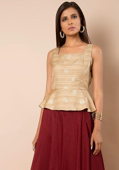Gold Foil Beige Silk Peplum Top