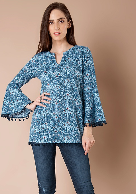 Bell Sleeve Long Top - Blue Floral