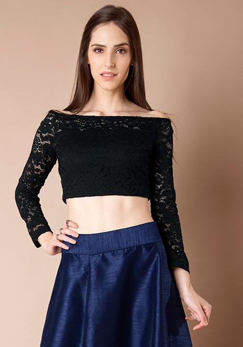 Lace Off Shoulder Crop Top - Black