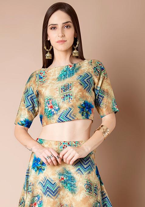 Silk Crop Top - Blue Aztec
