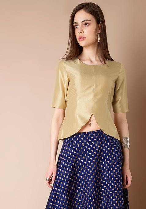 Sassy Silk Peplum Top - Beige Gold