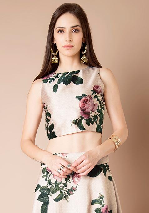 Rose Romance Silk Crop Top