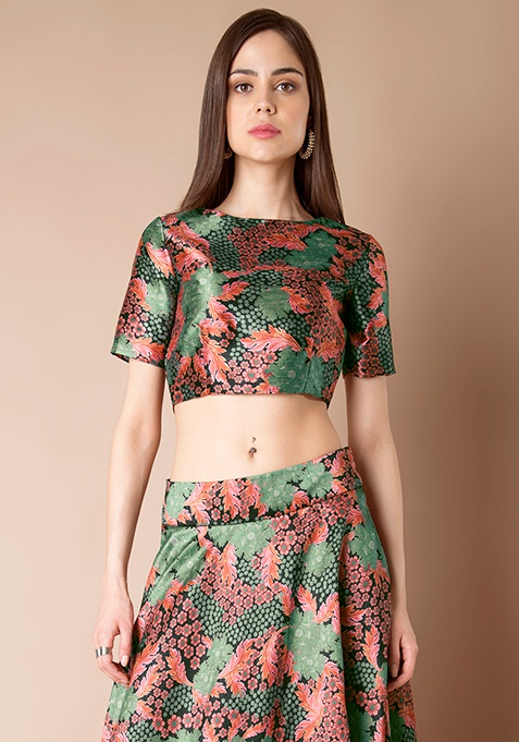 Forest Print Silk Crop Top