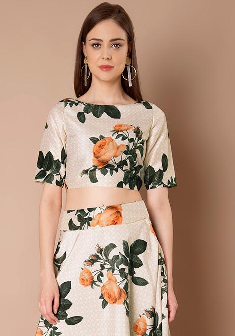 Ivory Floral Silk Crop Top