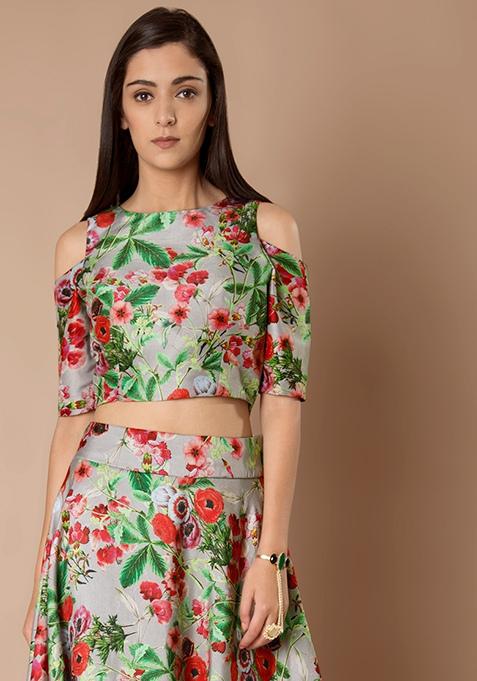 Cold Shoulder Silk Crop Top - Grey Floral