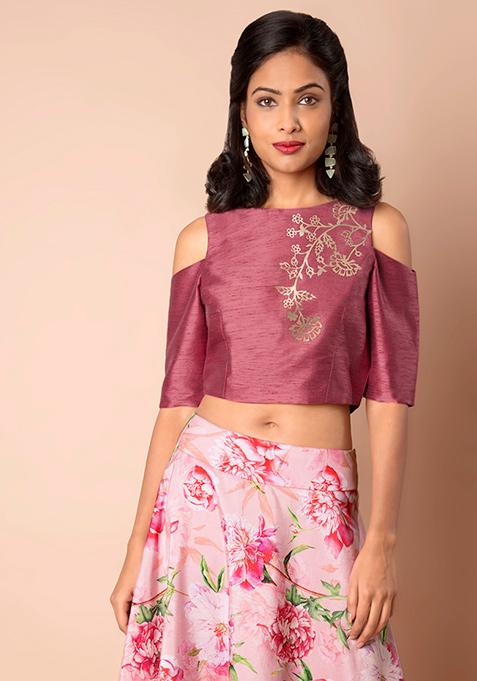 Pink Embellished Silk Cold Shoulder Crop Top