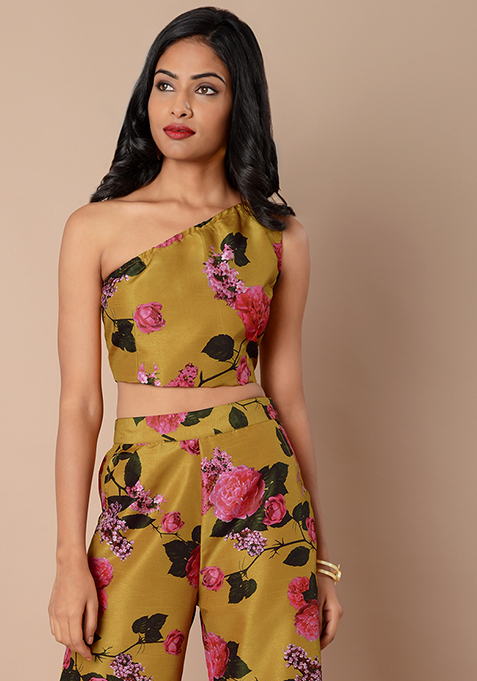 One Shoulder Silk Crop Top - Mustard Floral