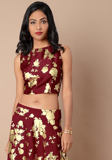 Sleeveless Silk Crop Top - Oxblood Foil Floral