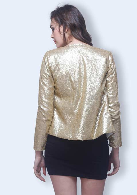 Sequin Power Blazer - Gold